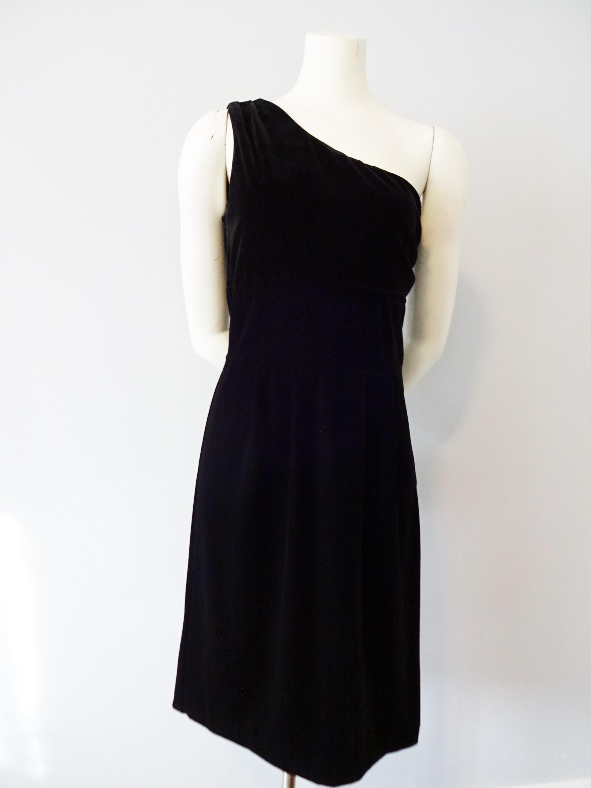 Black velvet dress vintage s one shoulder salesman sample