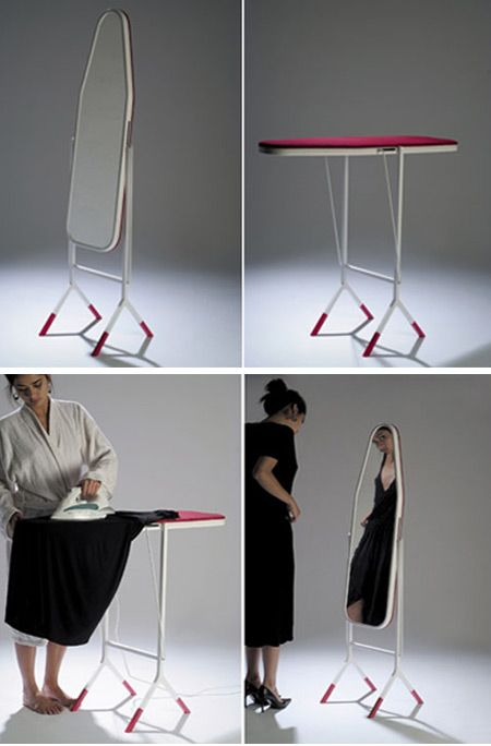 Ironing Board/Mirror: Clever Design: Ironing Board On One Side, Mirror On  The Other. Great For Small Spaces