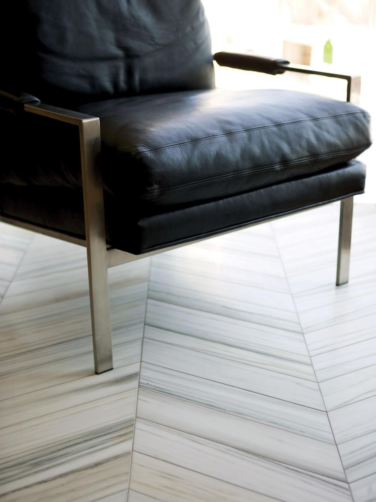 Tile Is Tough Enough Herringbone marble floor, Bathroom