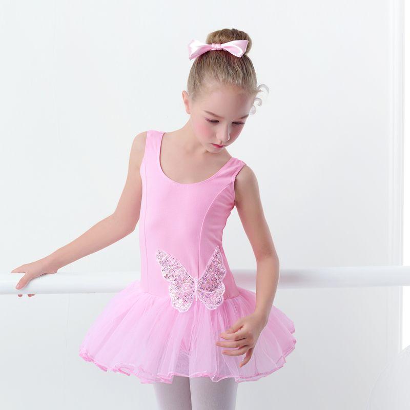 Niñas Ballet Tutu Vestido Rosa Con Lentejuelas Mariposa Princesa ...