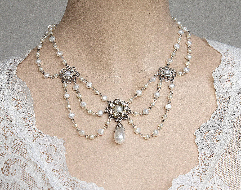 Wedding Pearl Necklace Vintage Rhinestone Victorian Bridal Jewelry Florence Collecti Victorian Wedding Jewelry Vintage Bridal Necklace Pearl Necklace Wedding