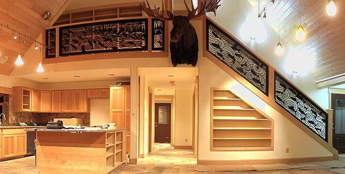 Decorative Railing Panel Inserts For Custom Metal Railing Look By Metal Artist Railing Design Deck Railing Design Western Rooms
