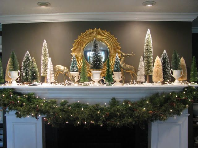 Bottle Brush Tree Mantle Christmas Mantle Bottle Brush Christmas Trees Retro Christmas Tree