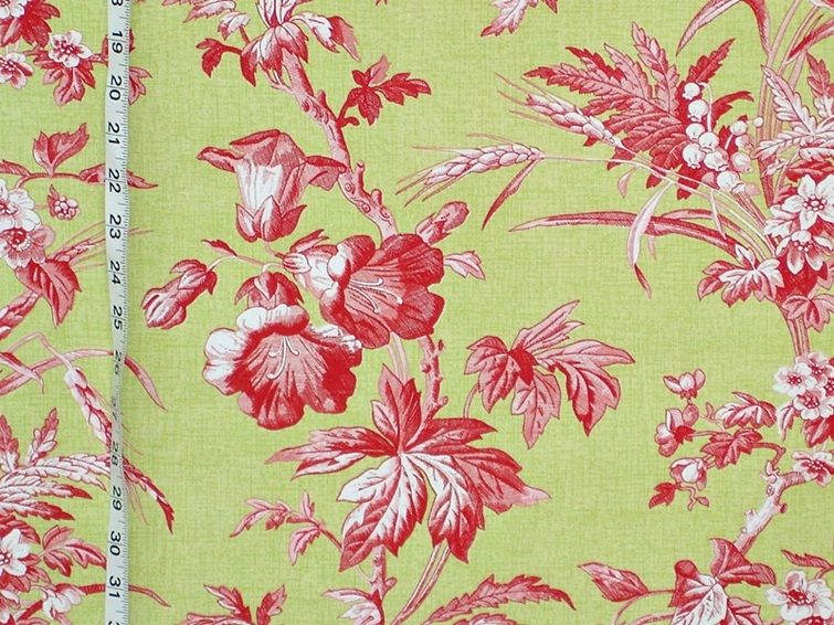 Schumacher Fabric Pink Green Fl Toile From Brick House Novelty