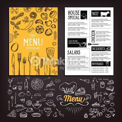 Vector Art : Cafe menu food.