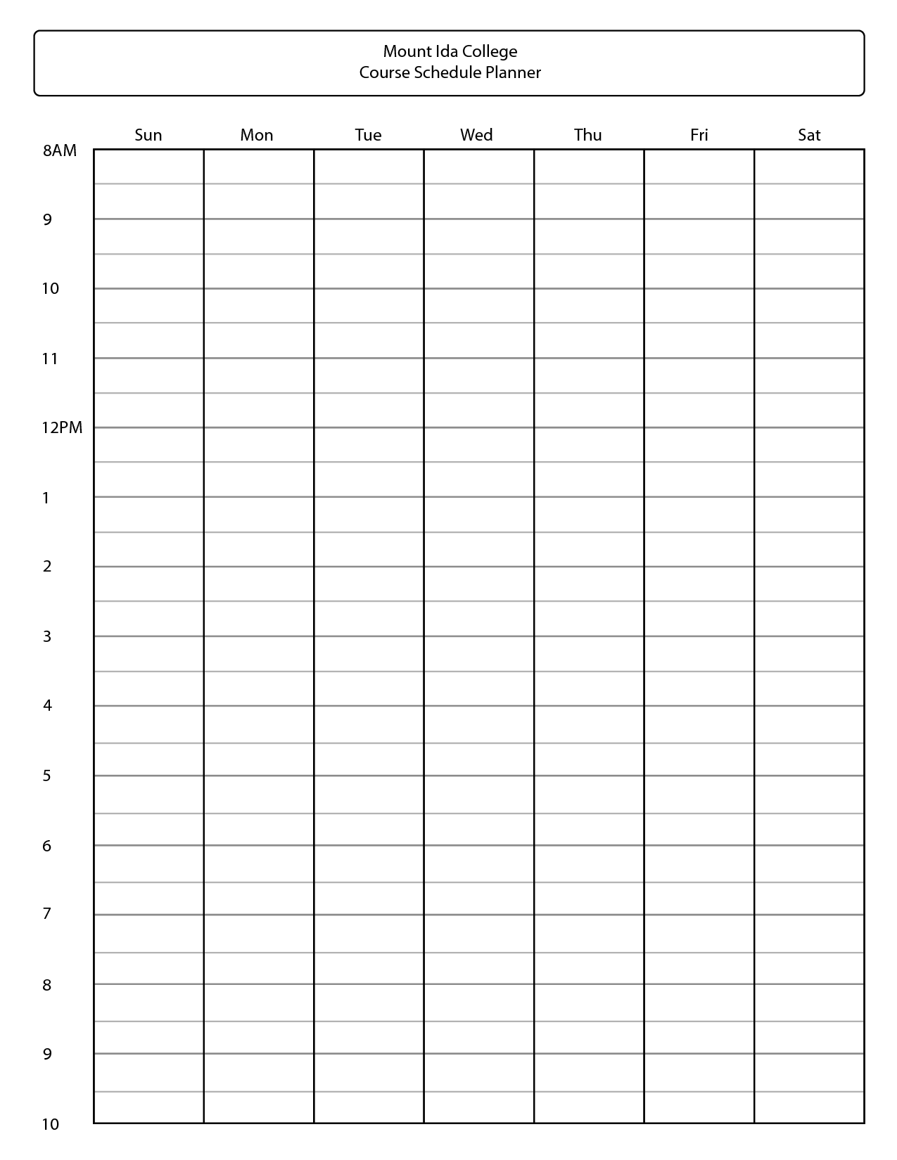 Printable College Class Schedule Template Galleryhip The