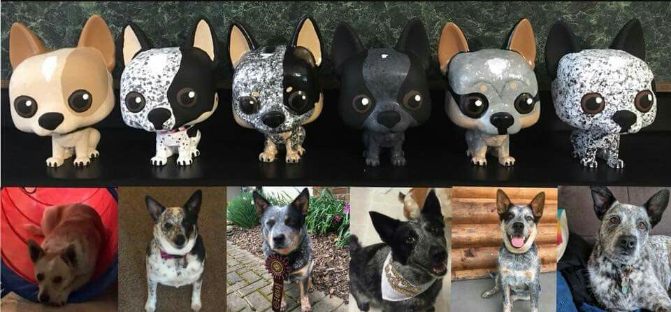 Here S A Few Of My Custom Funko Pop Pets From This Week My Two To Show A Variety Of Australian Cattle Dog Colors Custom Funko Pop Rare Funko Pop Custom Funko
