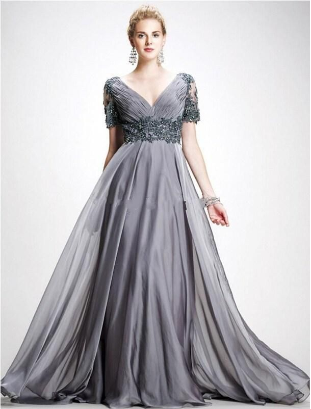 c696e4d744a Wholesale 2015 new plus size mother of the bride dress is elegant gray v- neck unbacked formal evening dress floor length chiffon dress with short  slee