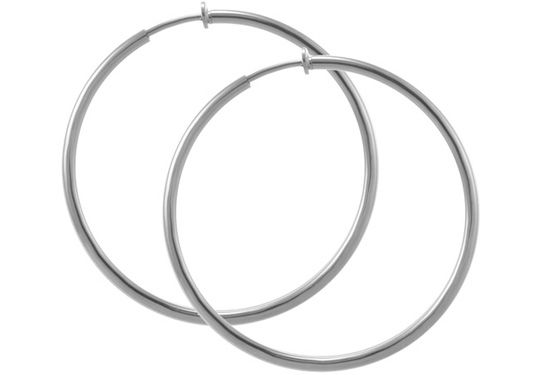 Pair Of Thicker Jumbo Silver Colored Clip On Hoop Earrings Non Pierced New Larger Inch
