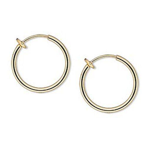 Gold Tone Spring Closure Hoops Earrings Clip On Hoop Small 17 Mm 3 5 Inch Diameter For Unpierced Ears Or Kid