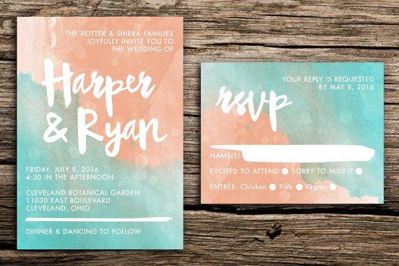mint and peach watercolor wedding invitation set von factorymade