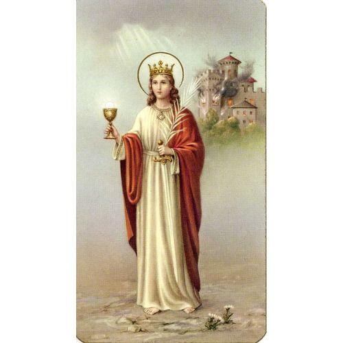 Oración A Virgen Y Martir Santa Barbara St Barbara Spanish Prayer Card Anjos Imagens Religiosas Iansã