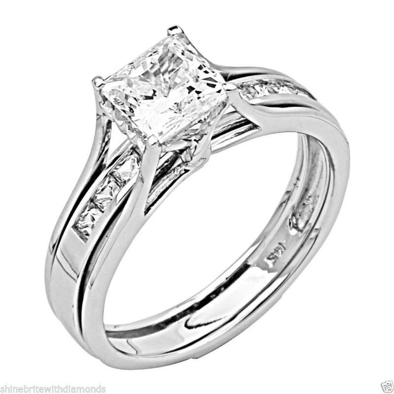 2 Ct Princess Cut 2-Piece Engagement Wedding Ring Band Set Solid 14K White Gold