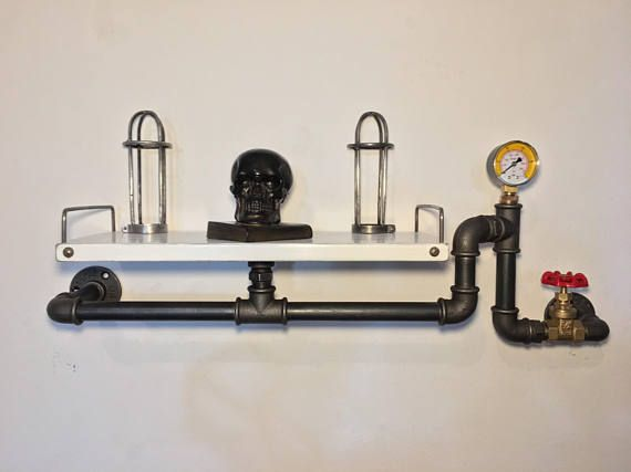 Vintage industrial style shelf shelving in plumbing pipes home
