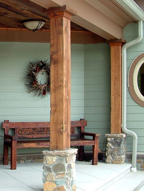 Barn Wood Beams Small Houses Porch Pillars Porch