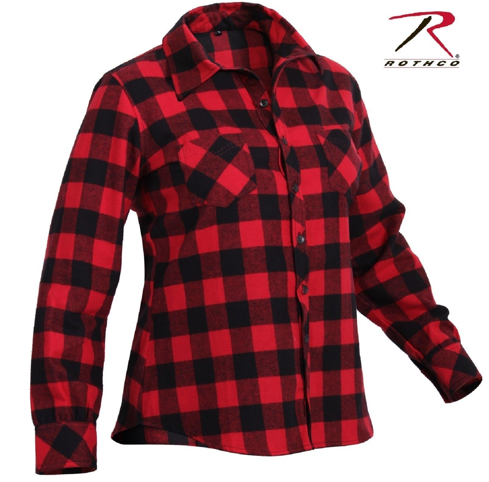4b8fe2abe7b Womens Red and Black Plaid Flannel Shirt - Rothco 100% Cotton Button ...