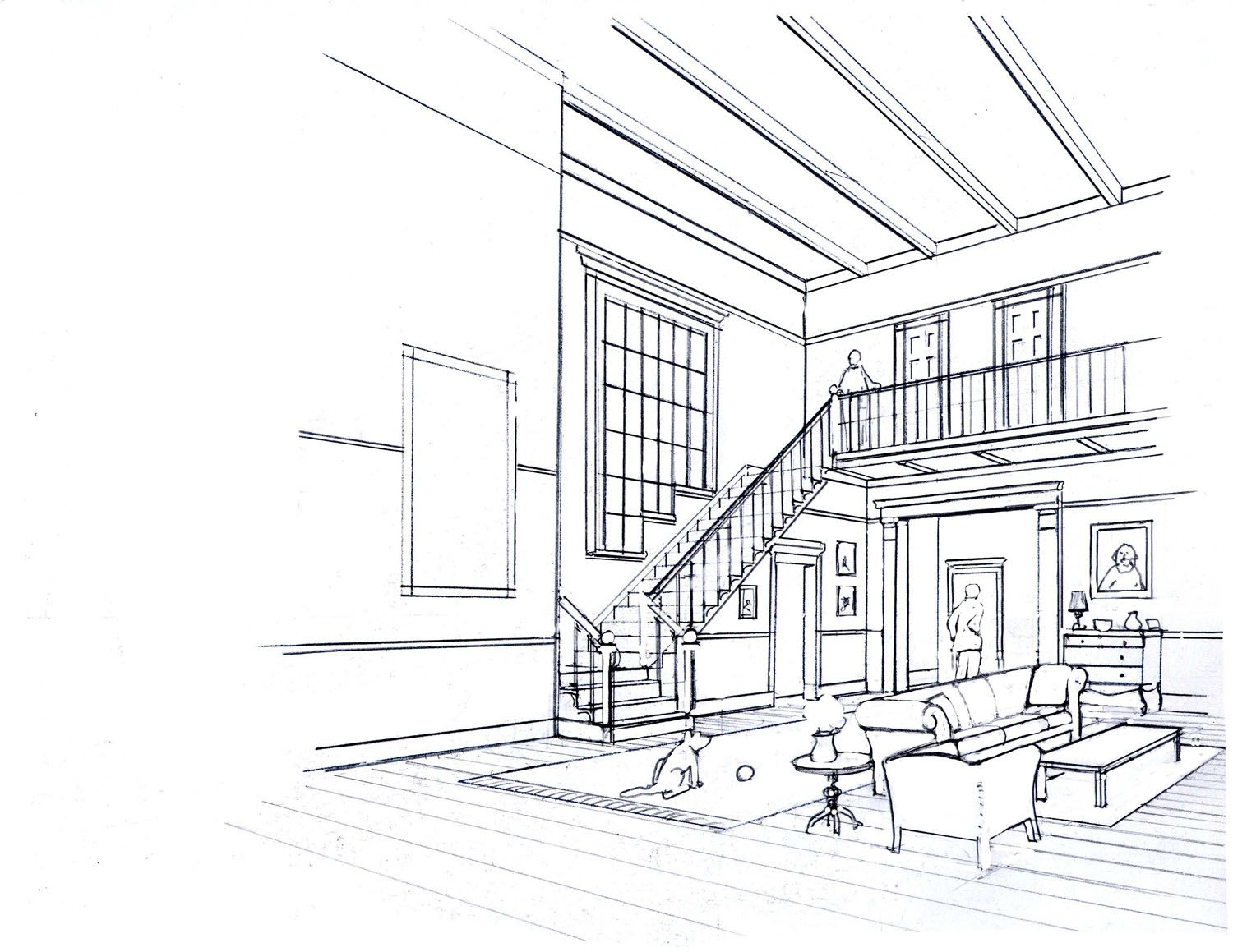 One point perspective living room drawing - One Point Perspective Interior Drawing