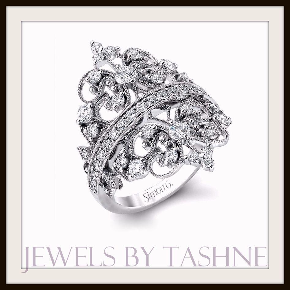 "Simon G 18K White Gold ""Duchess Collection"" 1.17 ctw VS1/VS2, G/H diamond filigree ring"