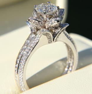 Custom Made Rose Flower Engagement Ring Flower Engagement Ring Wedding Rings Engagement Beautiful Rings