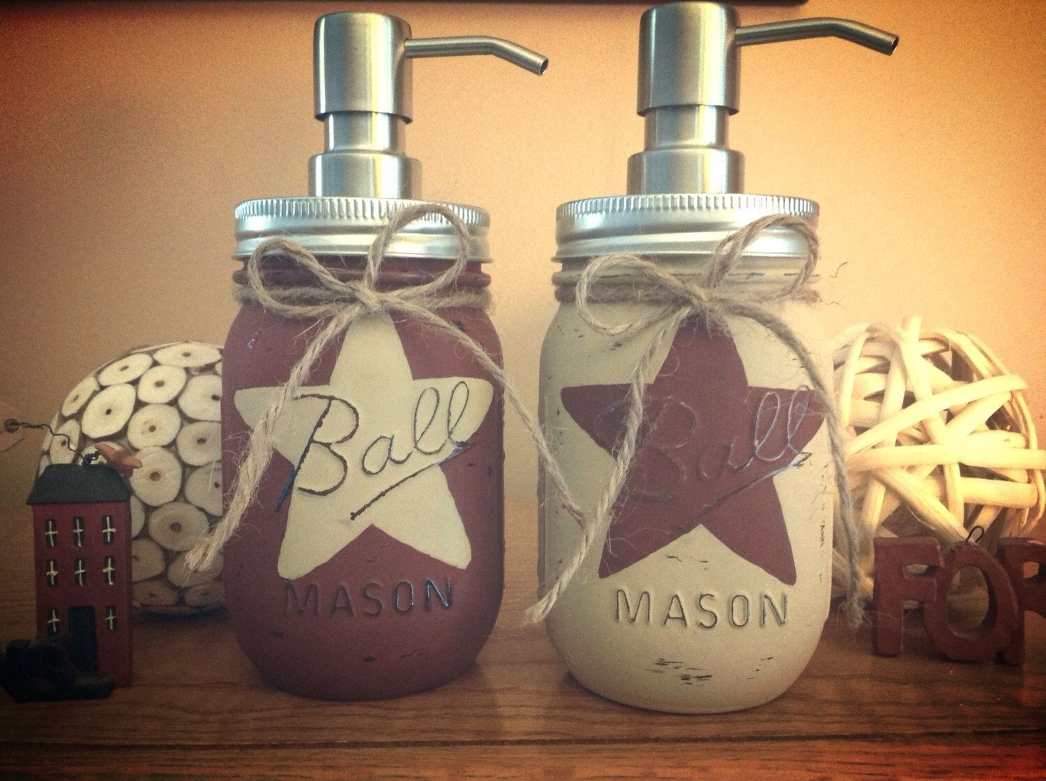 Set of 2 rustic star mason jar soap dispensers rustic for Bathroom decor mason jars