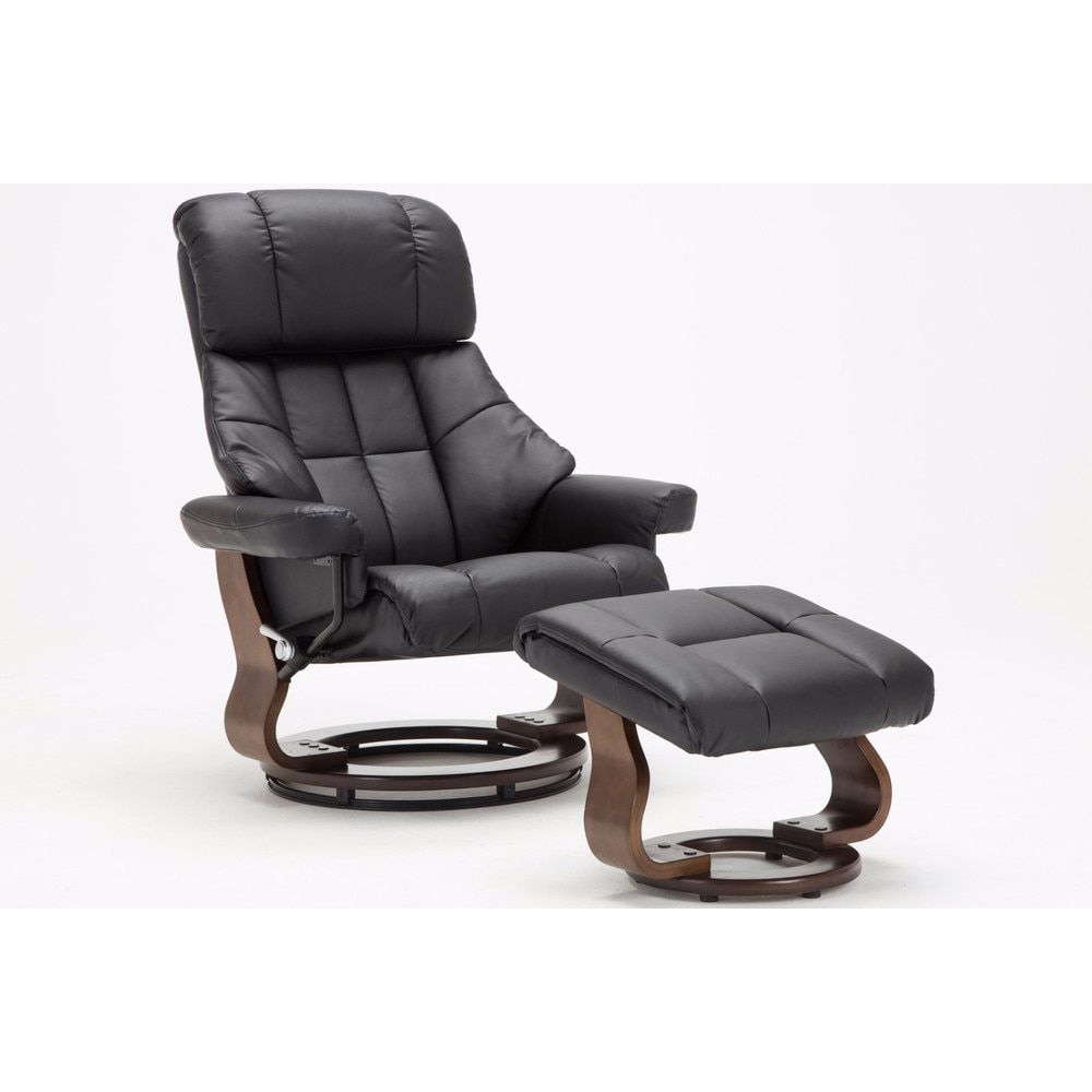 Mid century modern bonded leather lounge swivel and