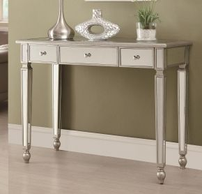 950014 Accent Tables Transitional Console Table With 3 Drawers Mirrored Surfaces And Turned Fe Silver Console Table Mirrored Console Table Mirrored Sofa Table