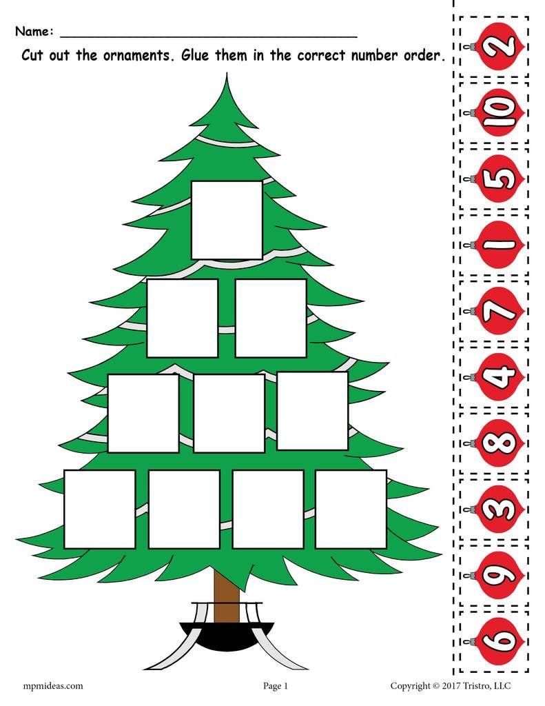 Printable Christmas Tree Ordering Numbers Worksheet Numbers 1 10 In 2020 Przedszkole Edukacja Boze Narodzenie
