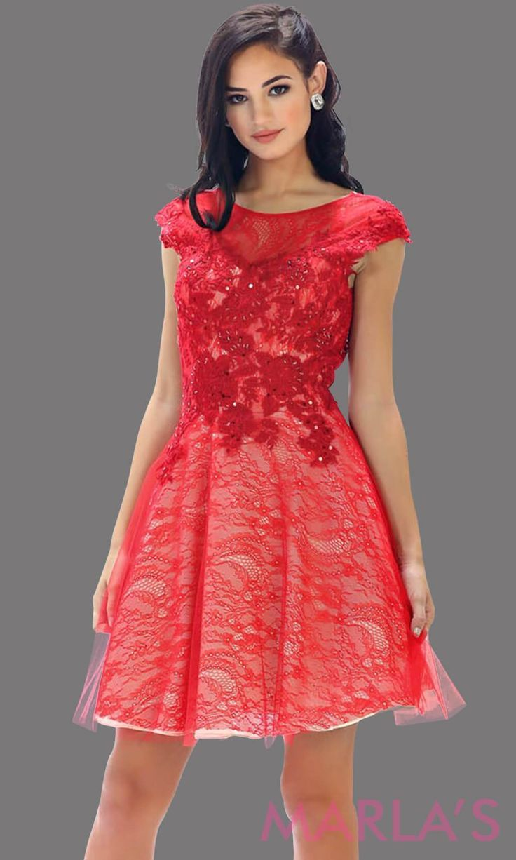 4068009e8c3 High neck short red puffy dress with lace bodice. This short grade 8  graduation dress has a low v back. This is perfect for homecoming