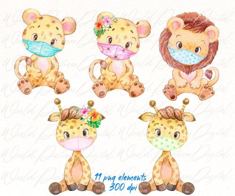Safari Animals And Medicine Masks Clipart Watercolor Baby Etsy Safari Animals Animals Tropical Animals