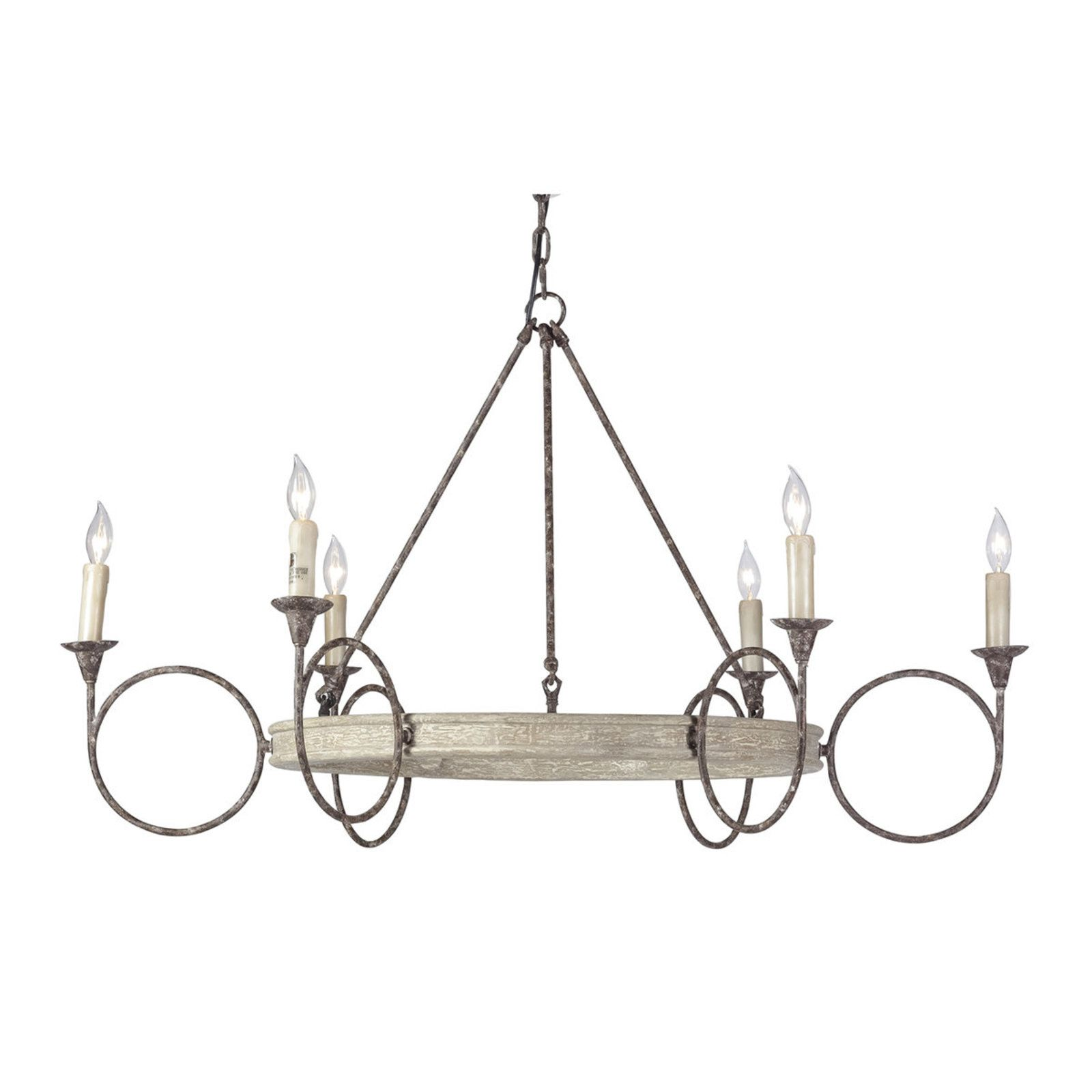 Wide Whitewashed Candlestick Chandelier