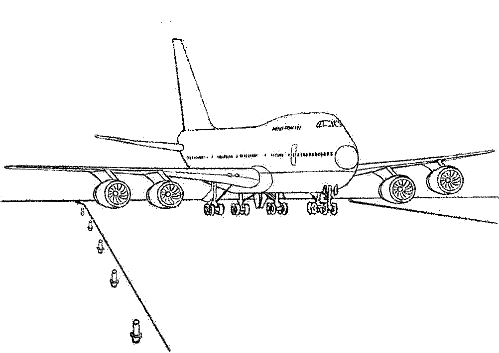 Boing 747 landing coloring page
