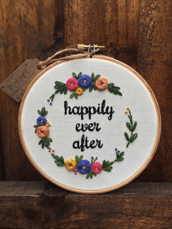 Photo of Floral Hand Embroidery, Personalized Gift, Embroidery Hoop Art, Broderie, Anniversary Gift, Wedding Gift, Fiber Art, Custom Embroidery Hoop