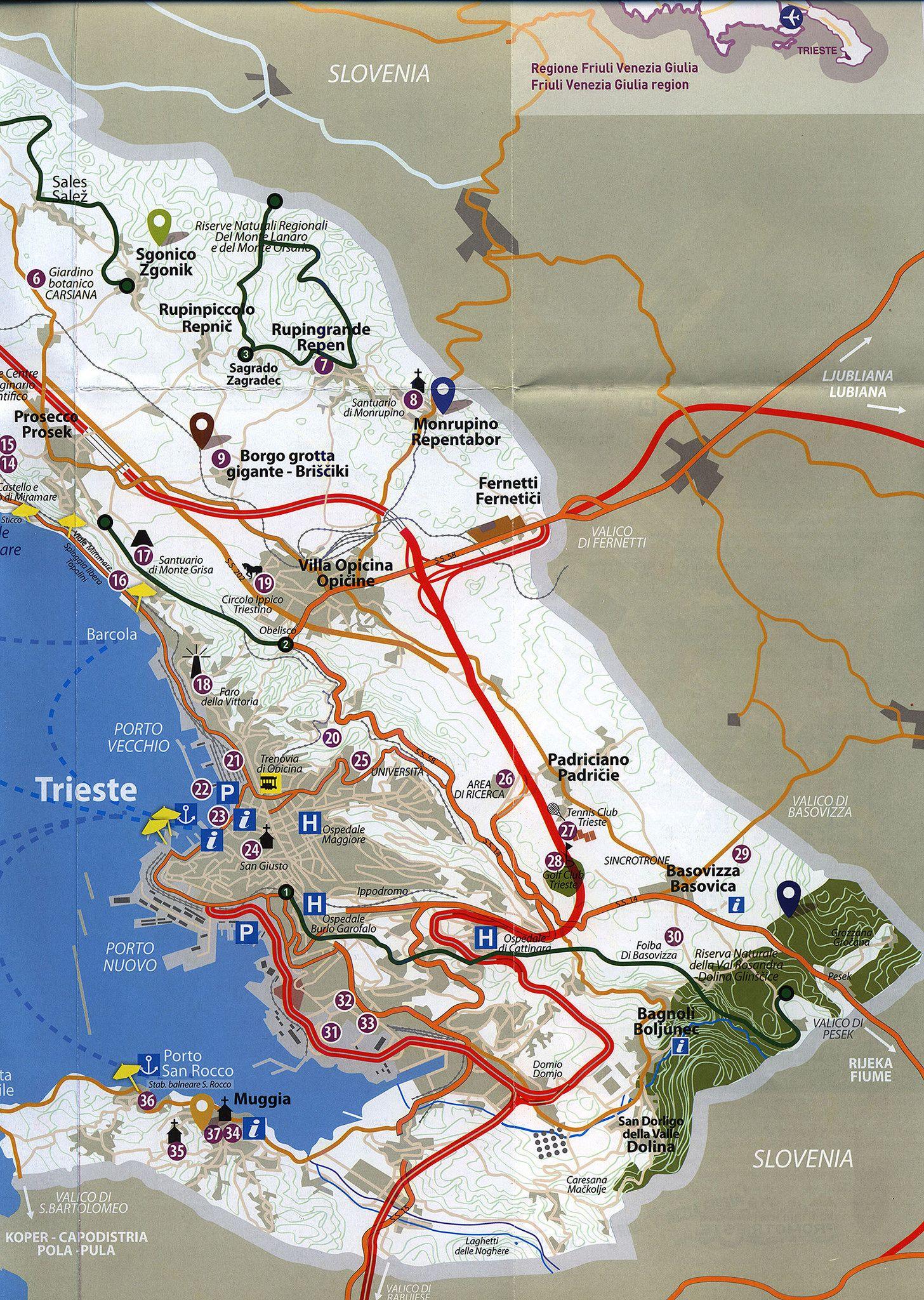 Trieste Mappa Della Citta City Map Friuli Venezia - Trieste map