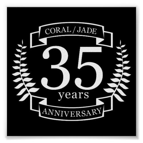35th Wedding Anniversary Jade Coral Poster Zazzle In 2019