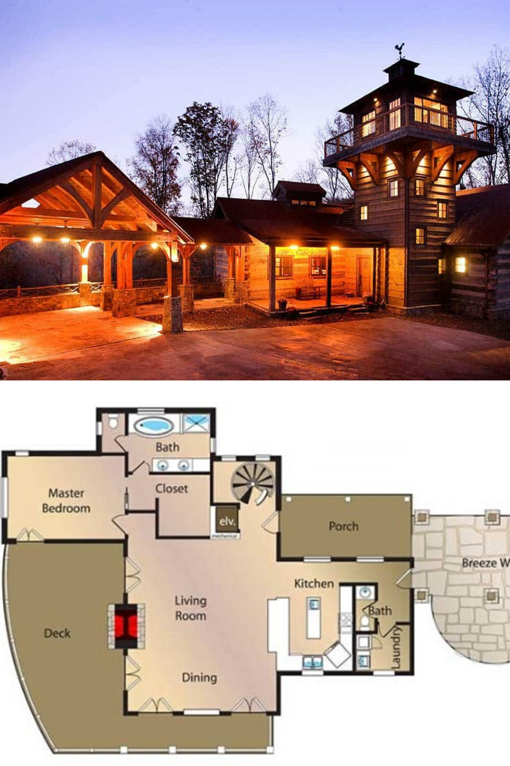 3 Bedroom Single Story Mountain Home With Lookout Tower Floor Plan In 2020 Mountain House Plans Lookout Tower Mansion Floor Plan