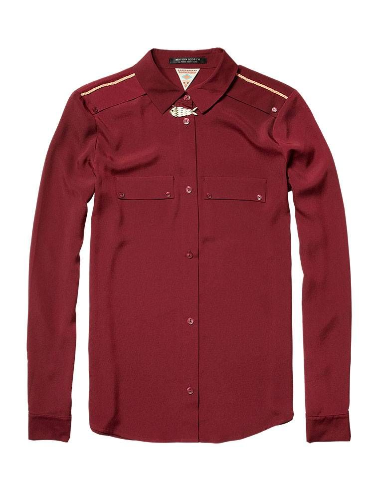 Silky classic shirt with shoulder detail - wine - 1