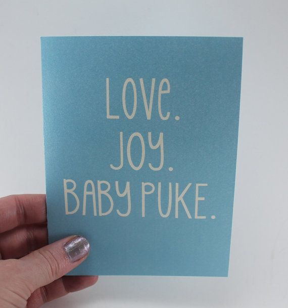 Funny New Baby Card / New Parent Card / Humor Pregnancy Congratulations / Snarky Card / Love, Joy and Baby Puke on Etsy, $4.25