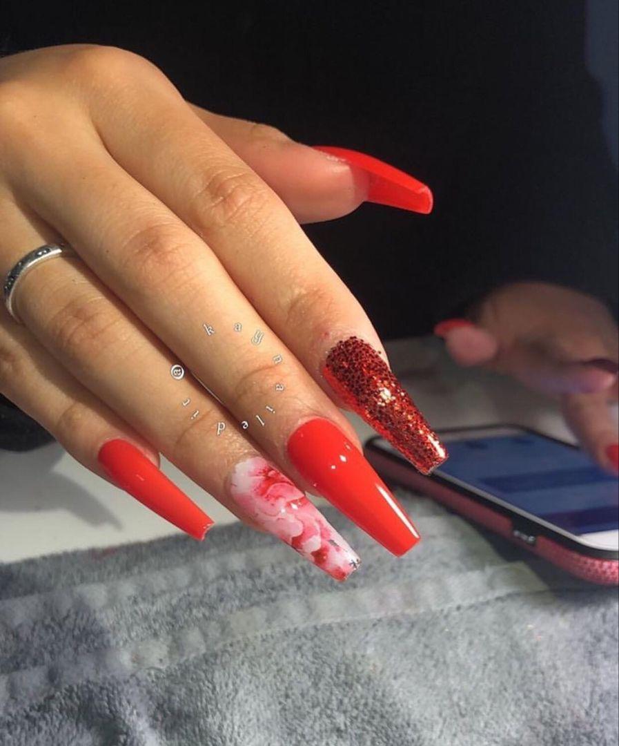 Damnlolaa Red Acrylic Nails Ballerina Nails Designs Long Acrylic Nails