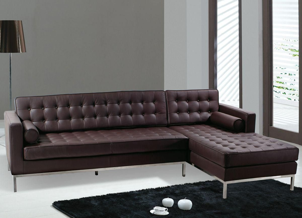 Modern Black Leather Sectional Sofa Leather Living Room