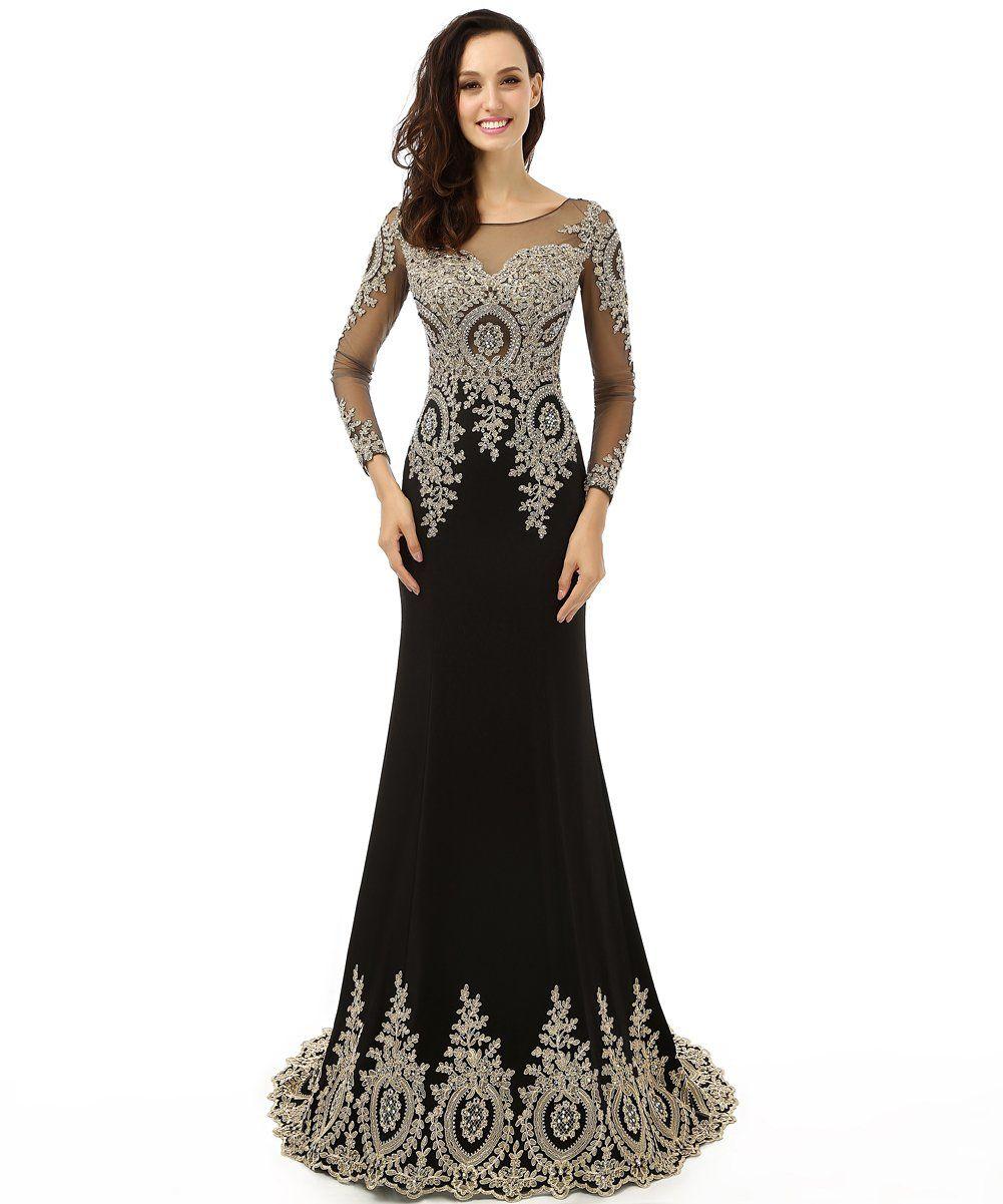 20a1b24a5d6c Amazon.com  King s Love Women s Rhinestone Long Sleeve Mermaid Evening Dress   Clothing