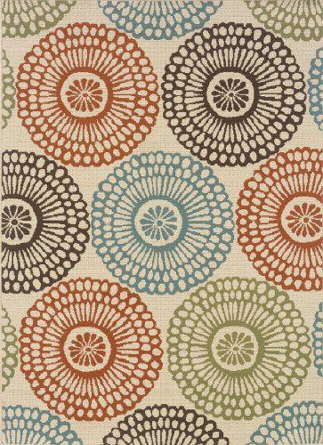 """granville rugs monterey indoor/outdoor area rug, multi, 6' 7"""" x 9' 6"""