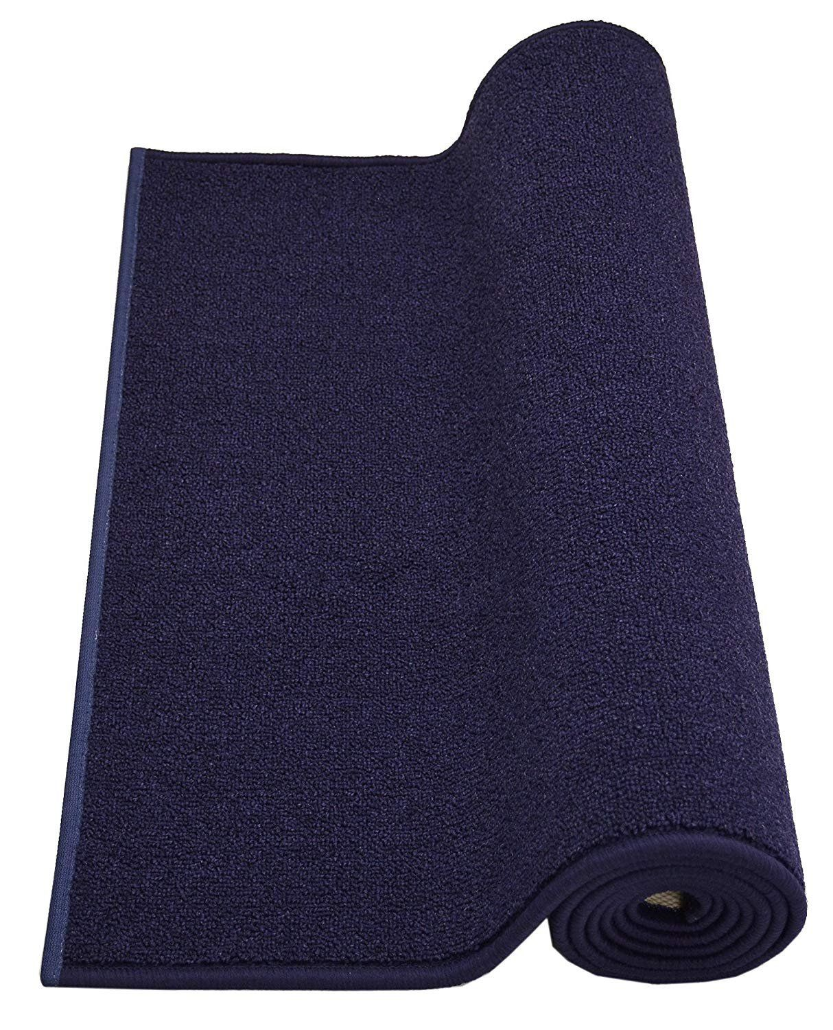 Rugstylesonline Custom Size Solid Navy Blue Roll Runner 36 In Wide X Your Length Choice Slip Resistant Rubber Back Rubber Backed Area Rugs Runner Custom Sizing