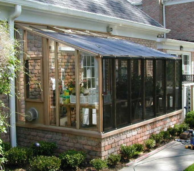 6x12 garden sunroom greenhouse built on brick base for Garden room additions
