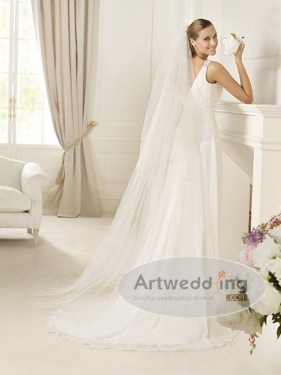 Sleeveless and Ruched Beaded Chiffon Empire Wedding Gown