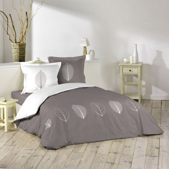 housse de couette et deux taies r versible garden taupe blanc duvet. Black Bedroom Furniture Sets. Home Design Ideas