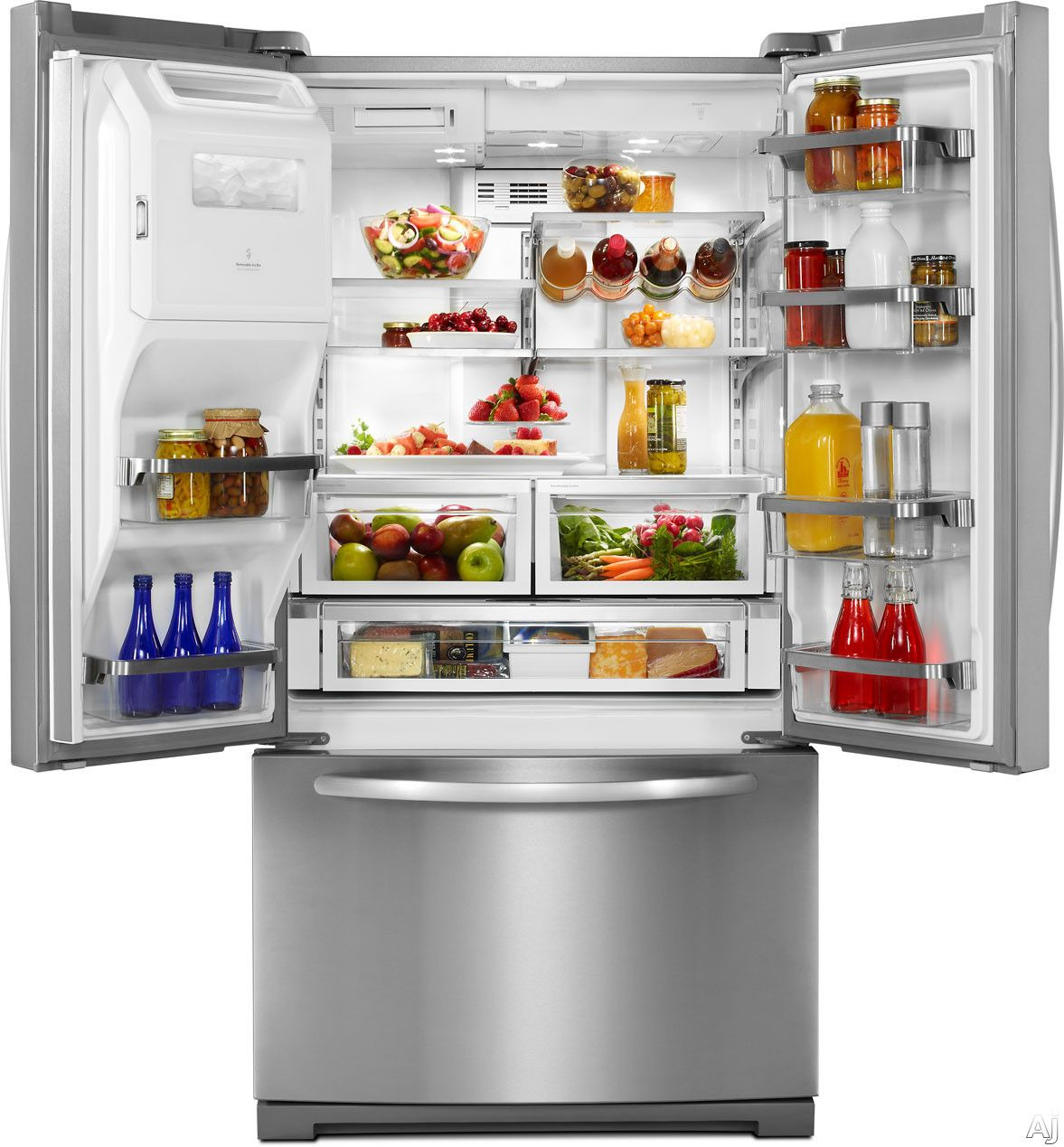 Kitchenaid Kfis29pbms 28 6 Cu Ft French Door Refrigerator With Spillclean Glass Shelves Auto Humidity Crispe Stainless Refrigerator Fridge Decor Kitchen Aid
