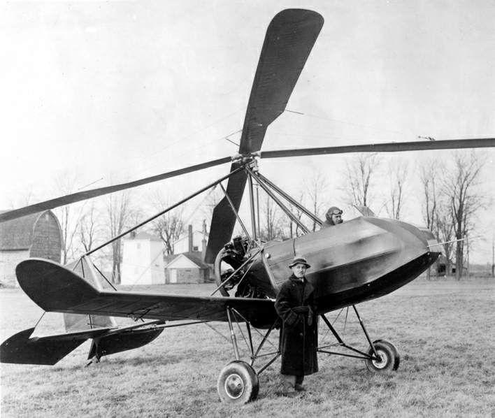 Buhl A-1 Autogiro - autogyro with rear push propeller engine - designer Etienne Dormoy and pilot James Johnson - 1931.