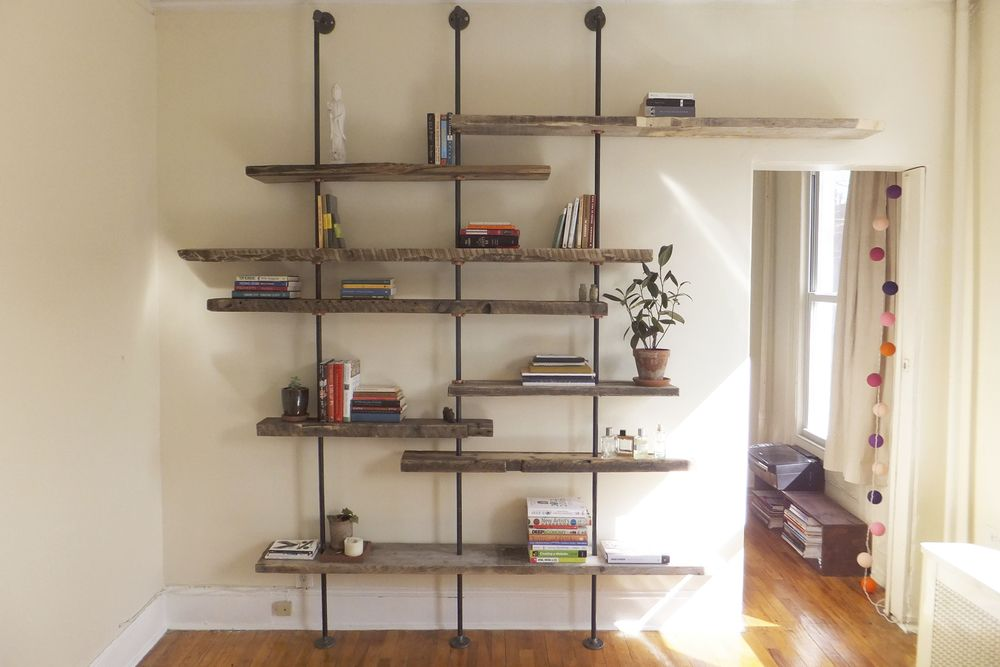 Reclaimed Wood And Metal Wall Shelves: The Hover Shelving Unit Is Made From Assorted Hand