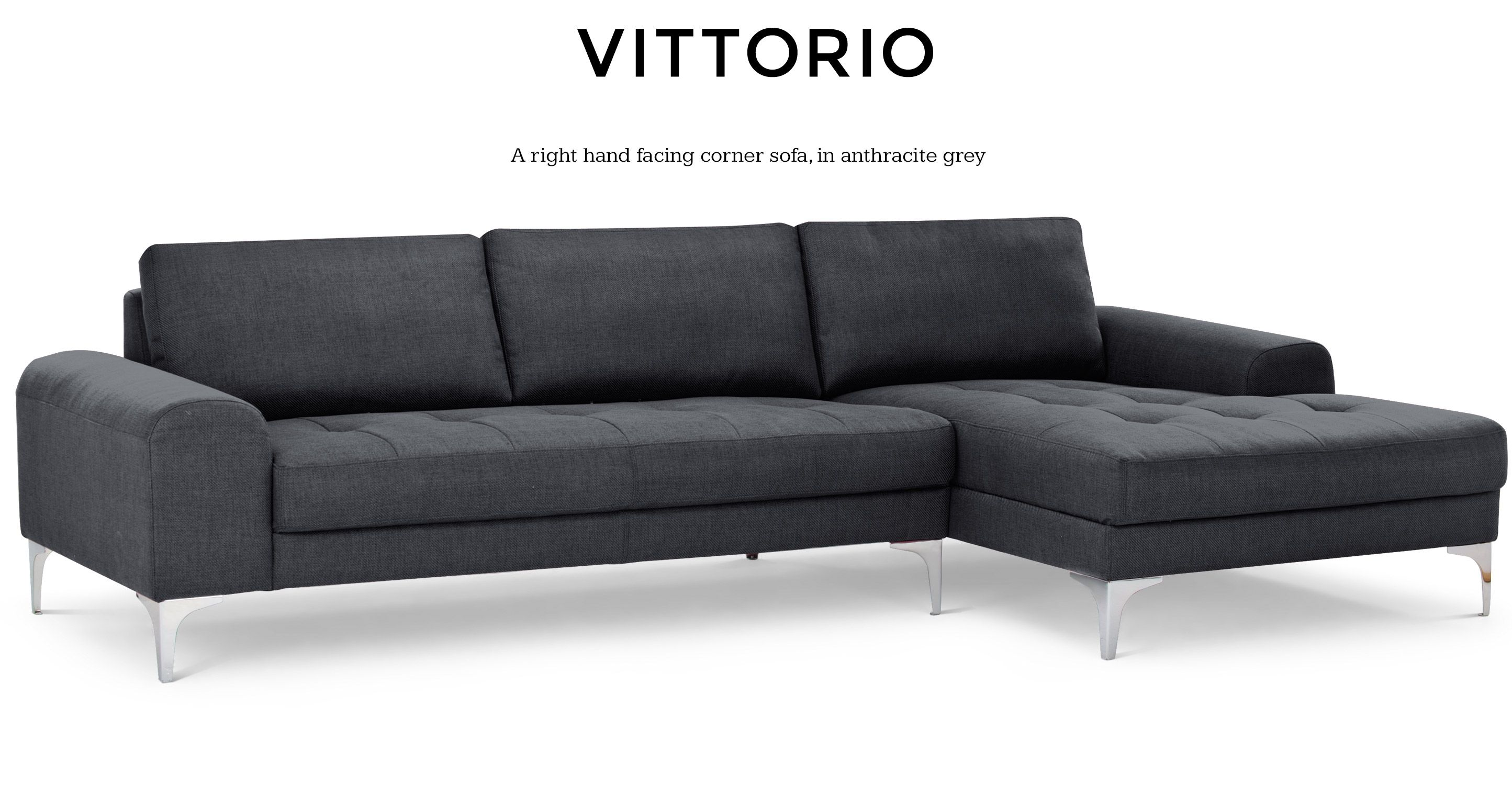 Vittorio Right Hand Facing Corner Sofa Group Anthracite Grey Corner Sofa Sofa Scandinavian Sofas