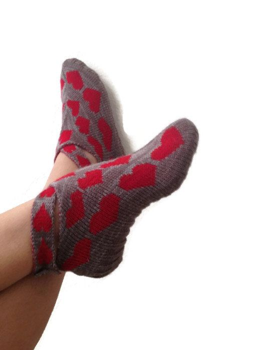 ethnic knit slippers ,authentic regional slippers,Home slippers - valentine day,heart #glovesmadefromsocks